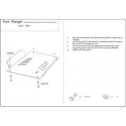 Ford Ranger Getriebeschutz 2.3, 2.5 D, 2.5 TD (4x4) - Alluminium