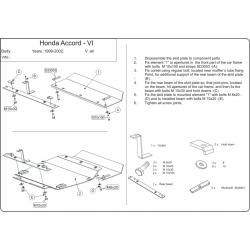 Honda Accord VI Motor und Getriebeschutz außer V6 - Stahl