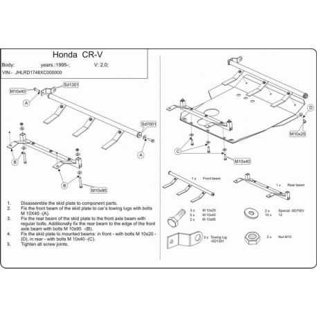Honda CR-V I Motor und Getriebeschutz 2.0 - Stahl