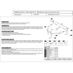 Honda CR-V III Motor und Getriebeschutz - Stahl