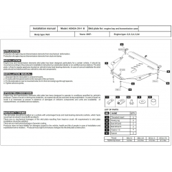 Honda CR-V III Motor und Getriebeschutz - Alluminium