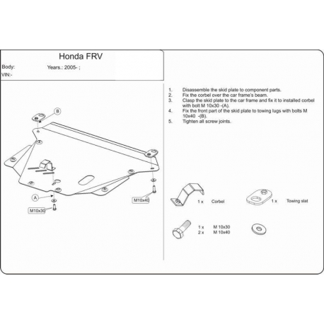 Honda FR-V Motor und Getriebeschutz - Stahl