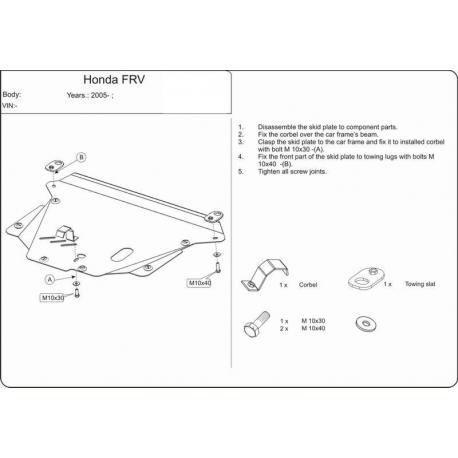 Honda FR-V Motor und Getriebeschutz - Alluminium
