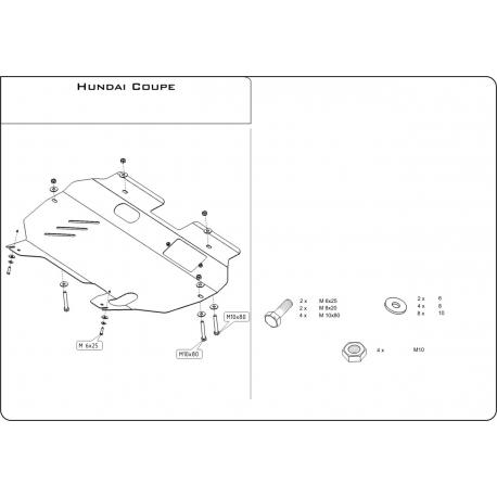 Hyundai Coupé Motor und Getriebeschutz 2.0, 2.7 - Stahl