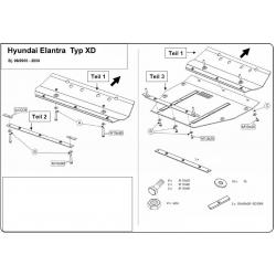 Hyundai Elantra Motor und Getriebeschutz 1.6, 1.8, 2.0 - Stahl