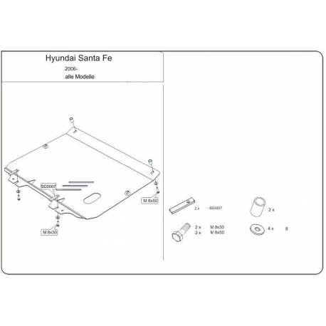 Hyundai Santa FÉ Motor und Getriebeschutz - Stahl