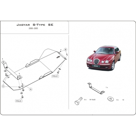 Jaguar S-Type SE (Schaltgetriebeschutz) 2.5, 2.7D, 3.0, 4.0, 4.2 - Stahl