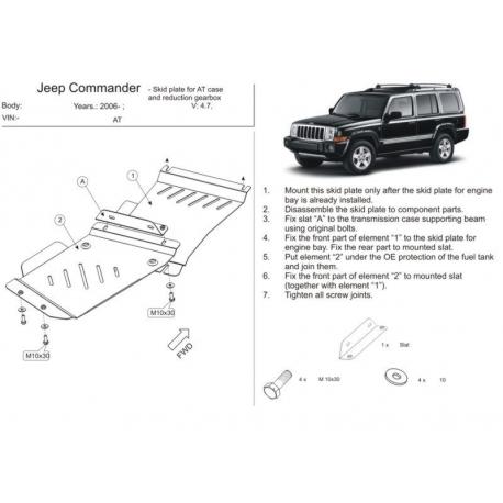 Jeep Commander Getriebeschutz pouze benzin - Stahl