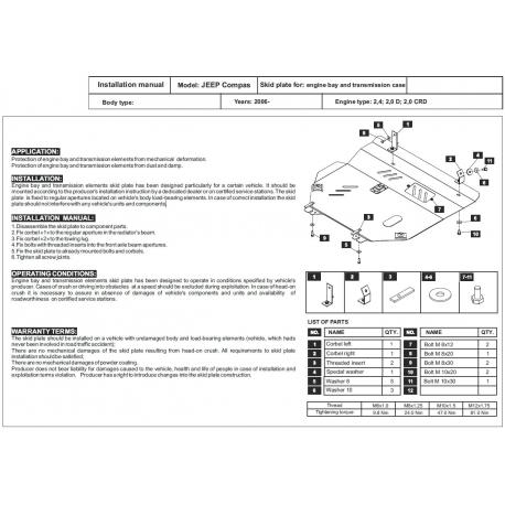 Jeep Patriot / Liberty Motor und Getriebeschutz 2.0 CRD, 2.4 - Alluminium
