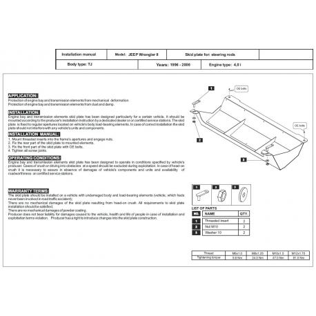 Jeep Wrangler (Abdeckung der Lenkung) - Stahl