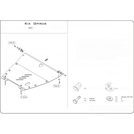 KIA Opirus Motor und Getriebeschutz 3.5 - Stahl