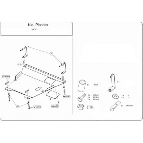 KIA Picanto Motor und Getriebeschutz 1.0, 1.1, 1.1D - Stahl
