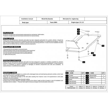 KIA Sorento (Tankabdeckung) - Stahl