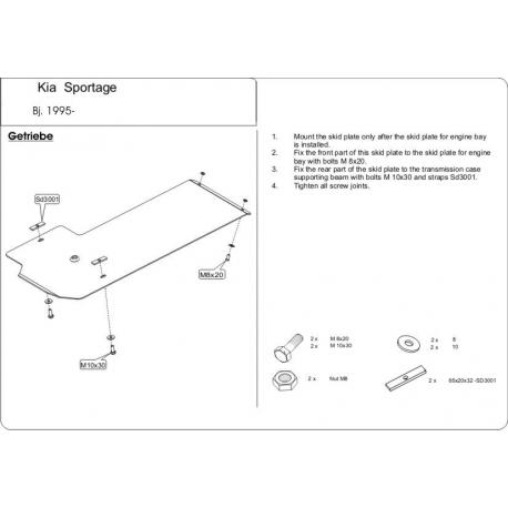 KIA Sportage Europe Getriebeschutz - Stahl