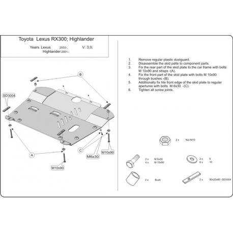 Lexus RX 300 / 330 / 350 / 400h Motor und Getriebeschutz 3.0, 3.5, 4.0h, 4.0h (FWD) - Stahl