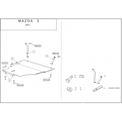 Mazda 3 Motor und Getriebeschutz 1.4, 1.6 - Alluminium