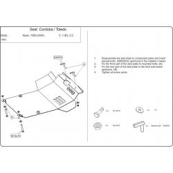 Seat Toledo Motor und Getriebeschutz 1.8, 1.9D, 2.0 - Stahl