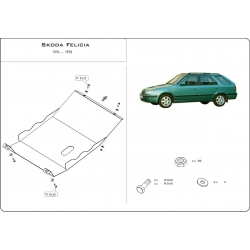 Škoda Felicia Motor und Getriebeschutz außer 1.6 - Stahl