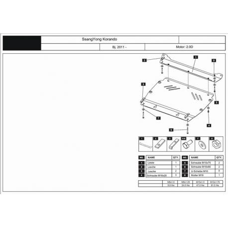 Ssang Yong New Actyon / Korando Motor und Getriebeschutz 2.0 AT, MT - Stahl