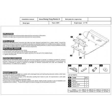 Ssang Yong Rexton II Unterfahrschutz 2.0TD, 2.7TD - Stahl