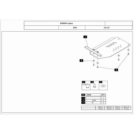 Subaru Legacy (Automaticgetriebe schutz) 2.0, 2.5 AT - Alluminium