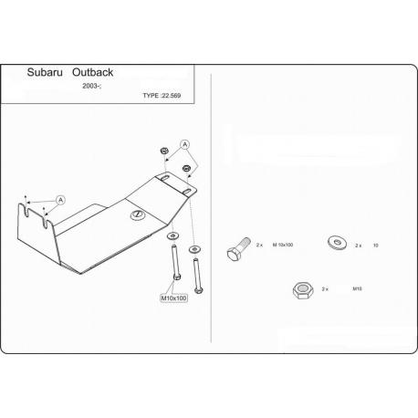 Subaru Outback (Schutz für Differential hintere Achse) 2.0, 2.5, 3.0 - Alluminium