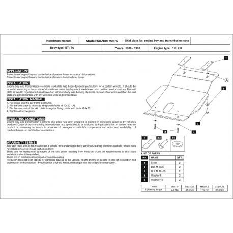 Suzuki Vitara Unterfahrschutz 1.6, 1.9 D, 2.0 TD, 2.0 - Stahl