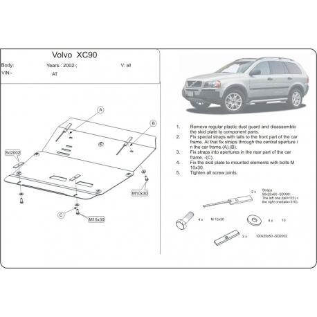 Volvo XC90 Motor und Getriebeschutz außer V8 - Alluminium