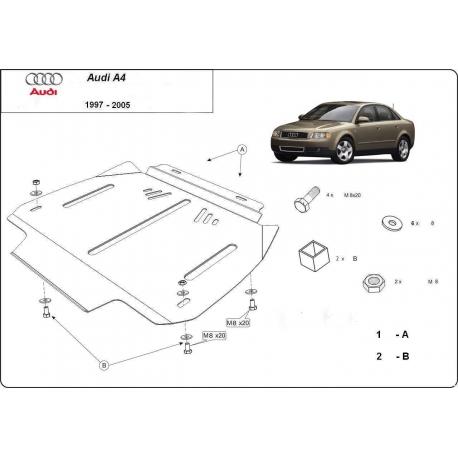 Audi A4 Getriebeschutz 1.6 - 2.0, 1.9TDi - Stahl