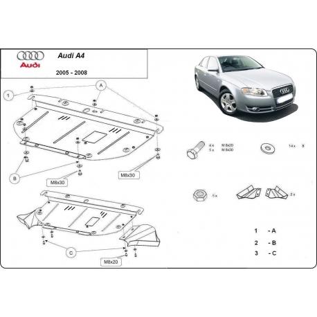 Audi A4 Unterfahrschutz 2.0, 1.6, 1.8, 1.9TDi, 2.0TDi - Stahl