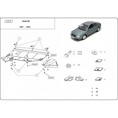 Audi A6 Unterfahrschutz 2.6, 2.8, 2.5D, 2.4T - Stahl