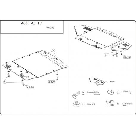 Audi A8 Unterfahrschutz 2.5 TDI, 3.3 TDI - Stahl