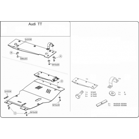 Audi TT Motor und Getriebeschutz 1.8, 2.0 - Alluminium