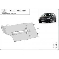 Mercedes B-classe W245 Unterfahrschutz - Stahl