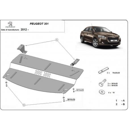 Peugeot 301 Unterfahrschutz - Stahl