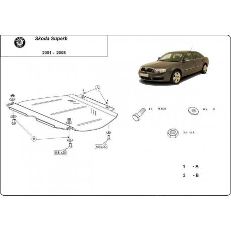 Skoda SuperB Getriebeschutz 2,5TDi, V6, 1.8, 1.9TDi - Stahl