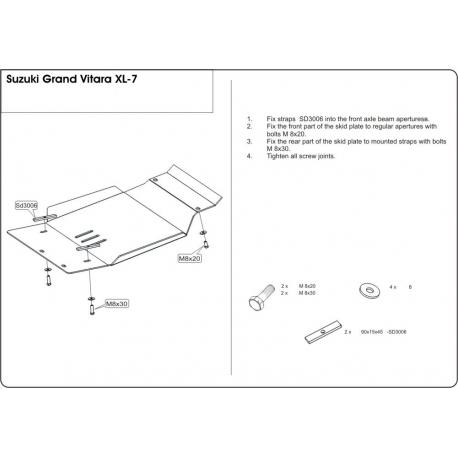 Suzuki Grand Vitara Unterfahrschutz - Alluminium
