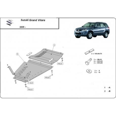 Suzuki Grand Vitara (Schutz für Differential) 1.6, 1.9, 2.0, 2.4, 3.2, V6 - Stahl