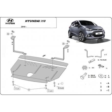 Hyundai i10 Unterfahrschutz - Stahl