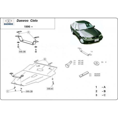 Daewoo Cielo Unterfahrschutz 1.5 16 V - Stahl