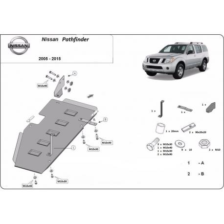 Nissan Pathfinder D40 Abdeckung unter dem Kraftstofftank - Stahl